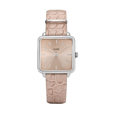 CLUSE La Carconne Almond Alligator + Silver Watch  - Click to view larger image