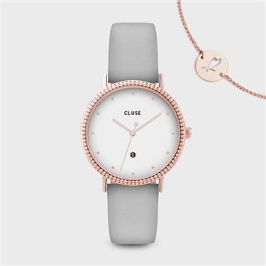 CLUSE Le Couronnement Soft Grey + Rose Gold Watch  - Click to view larger image
