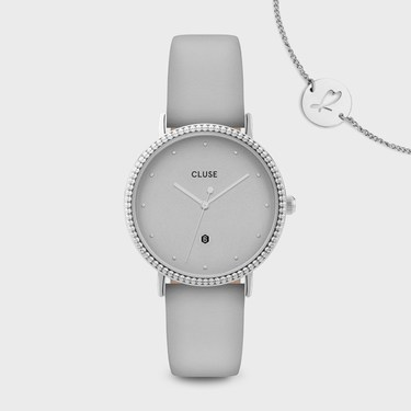 CLUSE Le Couronnement Soft Grey + Silver Watch  - Click to view larger image