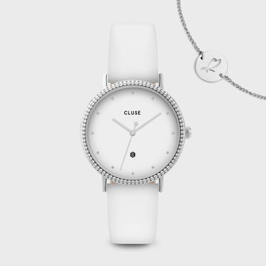 CLUSE Le Couronnement White + Silver Watch  - Click to view larger image