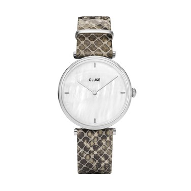 CLUSE Triomphe Pearl Dial + Python Silver Watch  - Click to view larger image