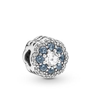 Pandora Blue Sparkle Flower Charm  - Click to view larger image
