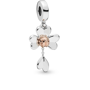 Pandora Clover and Ladybird Pendant Charm  - Click to view larger image