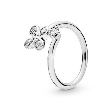 Pandora Silver Twist Four-Petal Flower Ring  - Click to view larger image