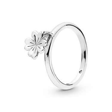 Pandora Silver Dangling Clover Ring  - Click to view larger image