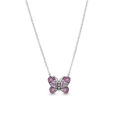 Pandora Dazzling Pink Butterfly Necklace  - Click to view larger image