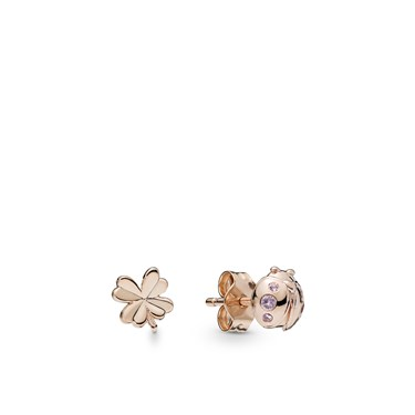 Pandora Four-Leaf Clover and Ladybird Stud Earrings  - Click to view larger image