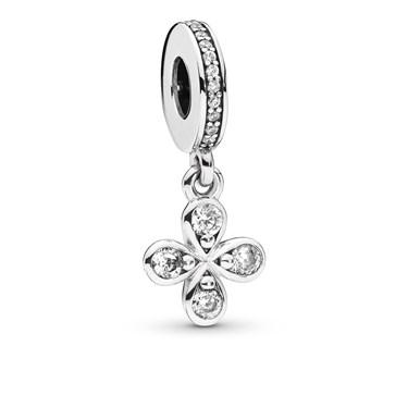 Pandora Four-Petal Flower Pendant Charm  - Click to view larger image
