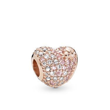 Pandora Gleaming Ladybird Heart Charm  - Click to view larger image