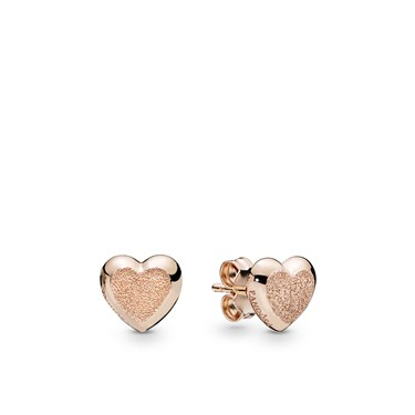 Pandora Rose Matte Brilliance Hearts Stud Earrings  - Click to view larger image