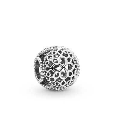 Pandora Silver Openwork Flower Charm  - Click to view larger image