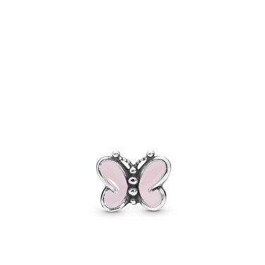 Pandora Pink Butterfly Petite Locket Charm  - Click to view larger image