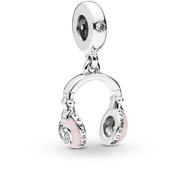 Pandora Pink Headphones Pendant Charm  - Click to view larger image