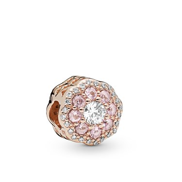 Pandora Pink Sparkle Flower Charm  - Click to view larger image
