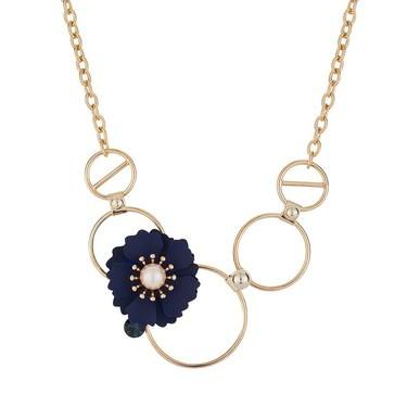 Dirty Ruby Midnight Gold Floret Necklace  - Click to view larger image