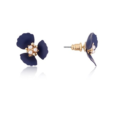 Dirty Ruby Midnight Gold Floret Earrings  - Click to view larger image