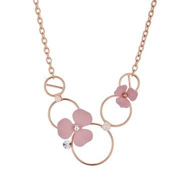 Dirty Ruby Pink Floret Hoop Necklace  - Click to view larger image