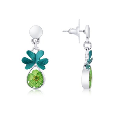August Woods Silver + Green Floral Earrings  - Click to view larger image