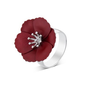 Dirty Ruby Mini Red Floret Adjustable Ring  - Click to view larger image