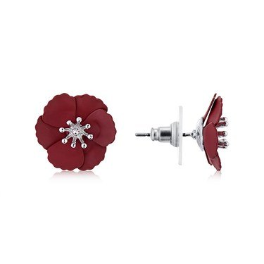 Dirty Ruby Mini Red Floret Studs  - Click to view larger image