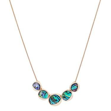 August Woods Rose Gold Abalone Circle Necklace  - Click to view larger image