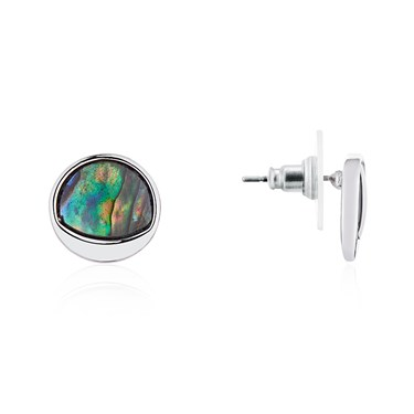 August Woods Silver Abalone Circle Earrings