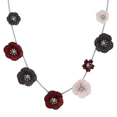 Dirty Ruby Silver Multicoloured Floret Necklace  - Click to view larger image