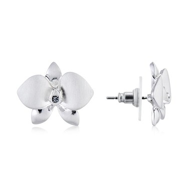 August Woods Silver Flower Shimmer Earrings  - Click to view larger image