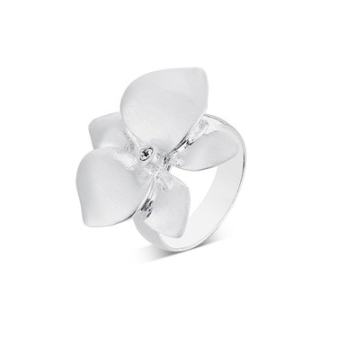August Woods Silver Flower Shimmer Ring  - Click to view larger image