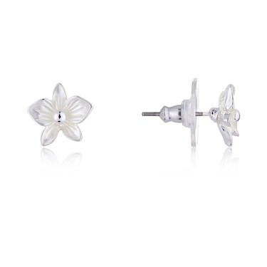August Woods Silver Flower Stud Earrings  - Click to view larger image