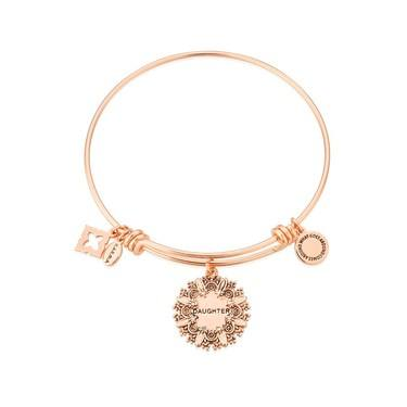 Karma Rose Gold Daughter Flower Bangle  - Click to view larger image