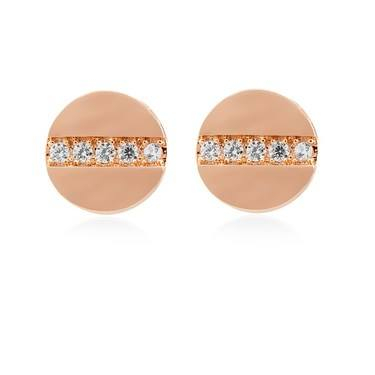 Dirty Ruby Rose Gold Fine Crystal Stud Earrings  - Click to view larger image