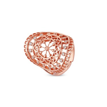 August Woods Rose Gold Lace Adjustable Ring  - Click to view larger image
