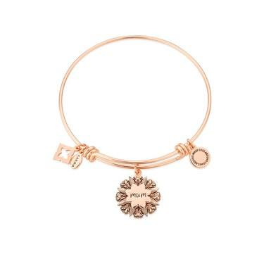 Karma Rose Gold Mum Flower Bangle  - Click to view larger image