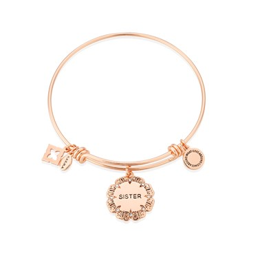 Karma Rose Gold Sister Flower Bangle  - Click to view larger image