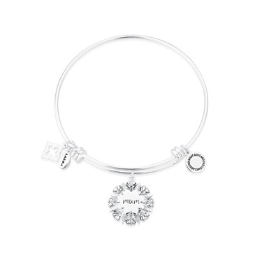 Karma Silver Mum Flower Bangle  - Click to view larger image