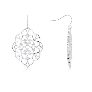 August Woods Silver Lace Drop Earrings  - Click to view larger image