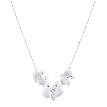 August Woods Silver Flower Shimmer Necklace  - Click to view larger image