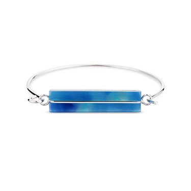 Dirty Ruby Blue Marbled Rectangle Bangle  - Click to view larger image