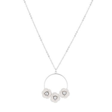Dirty Ruby White Floret Hoop Necklace  - Click to view larger image