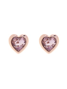 Ted Baker Rose Gold Pink Crystal Heart Earrings  - Click to view larger image