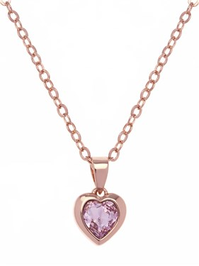 Ted Baker Rose Gold Pink Crystal Heart Necklace  - Click to view larger image