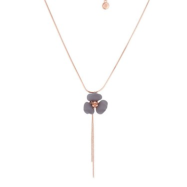 Dirty Ruby Rose Gold + Grey Floret Necklace  - Click to view larger image