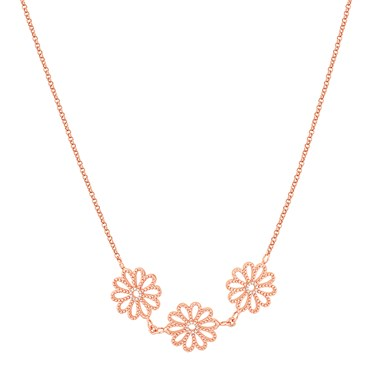 August Woods Rose Gold Floral Lace Necklace  - Click to view larger image