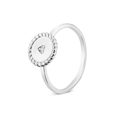 Argento Silver Twist Heart Coin Ring  - Click to view larger image
