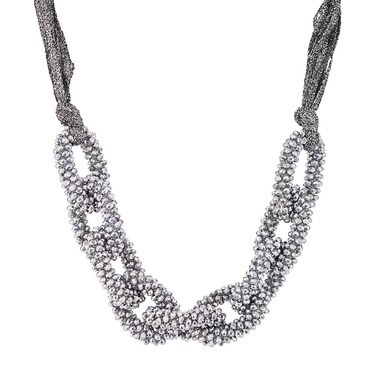 August Woods Beaded Silver Fabric Necklace  - Click to view larger image