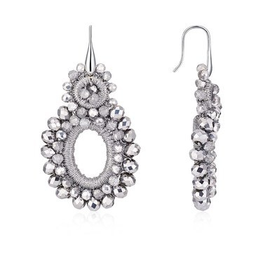 August Woods Dazzling Silver Statement Earrings  - Click to view larger image