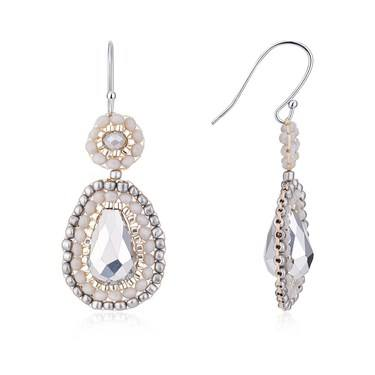 August Woods Silver Bejewelled Drop Earrings  - Click to view larger image