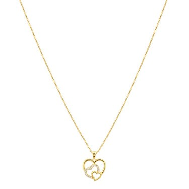 Argento Gold Crystal Heart Necklace  - Click to view larger image