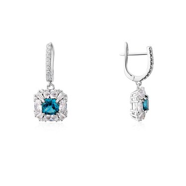 Argento Silver Imperial Blue Square Earrings  - Click to view larger image